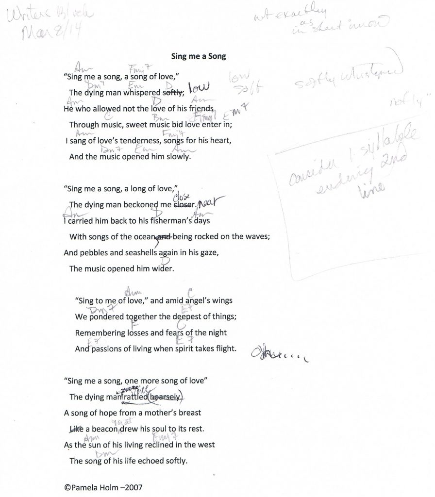 Lyrics with edits for Sing me a Song by Pamela Holm
