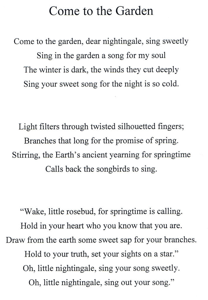 Lyrics for Come to the Garden, by Pamela J Holm.