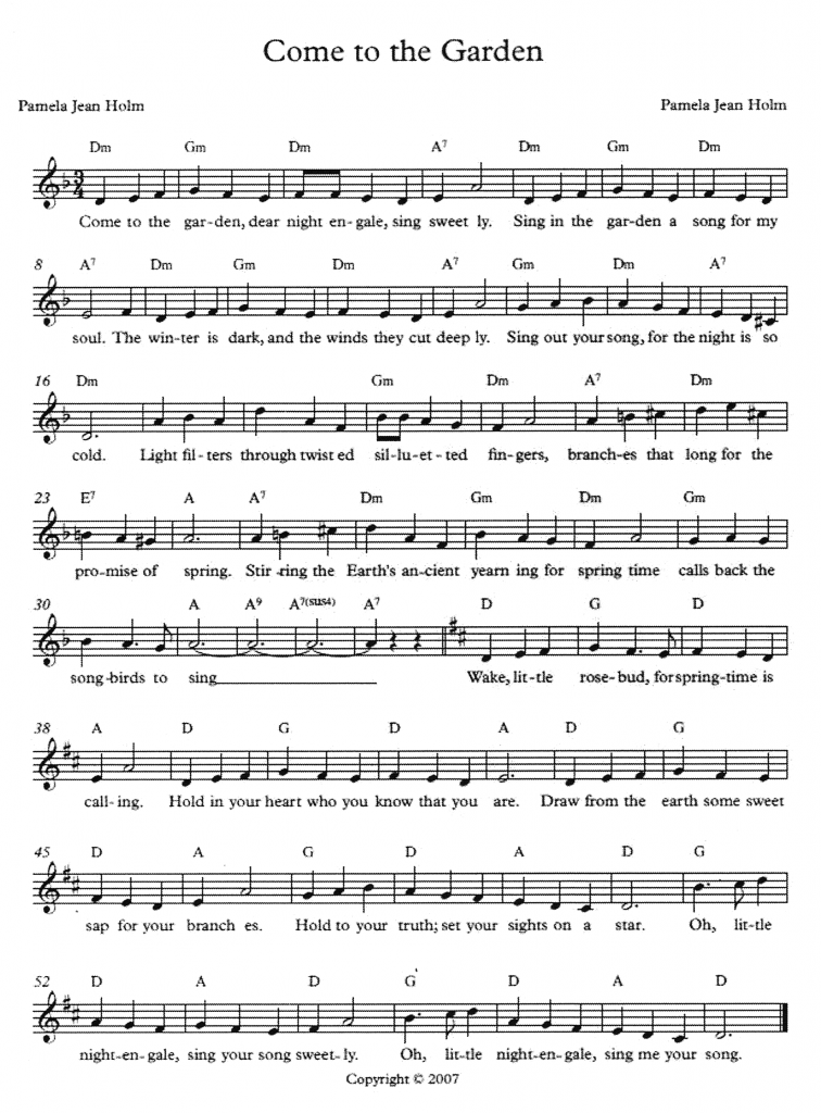 Come to the Garden, by Pamela Holm - sheetmusic