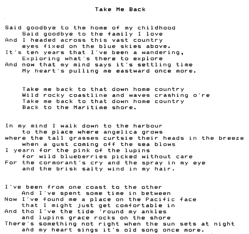 "Lyrics to ""Take Me Back"" by Pamela J Holm"