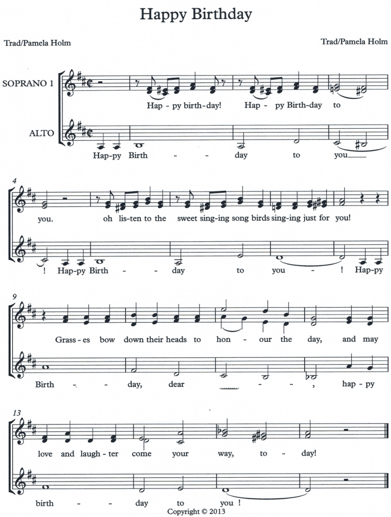 A capella trio birthday song arrangement by Pamela Holm, 2013