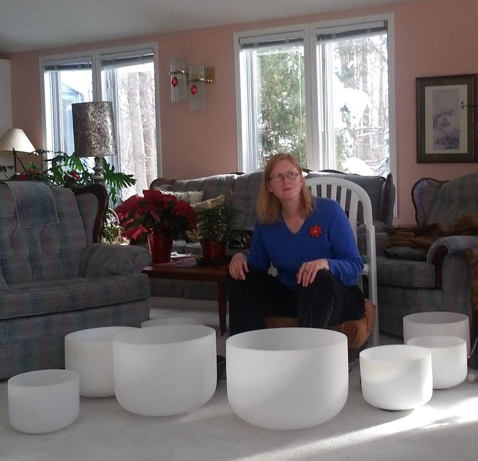 Pamela and her crystal singing bowls.