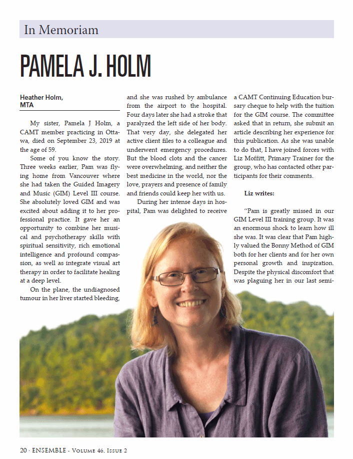 Page 1 of article about Pamela Holm in Ensemble magazine.