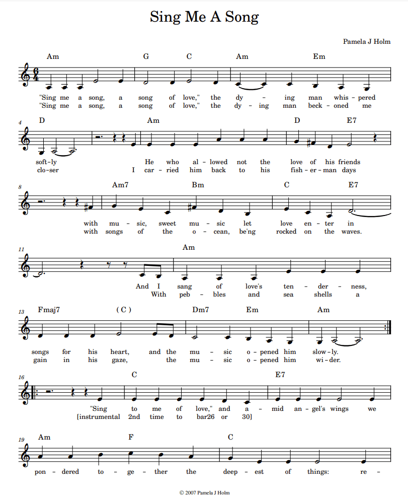 Sheet music for Sing Me A Song by Pamela J Holm, page 1 of 2