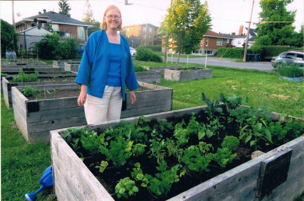 Pamela Holm and her garden bed